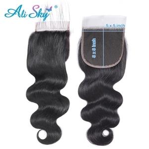 Image 4 - עלי שמיים שיער פרואני גוף גל 3 חבילות עם סגירת מראש קטף קו שיער 5x5 סגירת עם חבילות Weave רמי שיער הרחבות