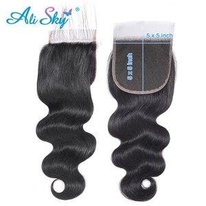 Image 4 - Ali Sky волосы перуанские объемные волны 3 пряди с закрытием предварительно выщипанные волосы 5x5 закрытие с пряди плетение Remy волосы для наращивания