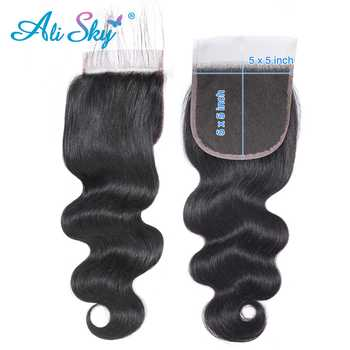 Ali Sky Hair Peruvian Body Wave 3 Bundles with Lace Closure 5x5 Pre Plucked 100% human hair free shipping Remy Hair