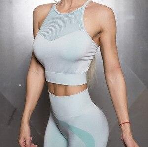 Спортивный бесшовный бюстгальтер с высокой горловиной, со съемной подкладкой, для фитнеса, с низкой поддержкой, дышащий, с дырками, женский ...