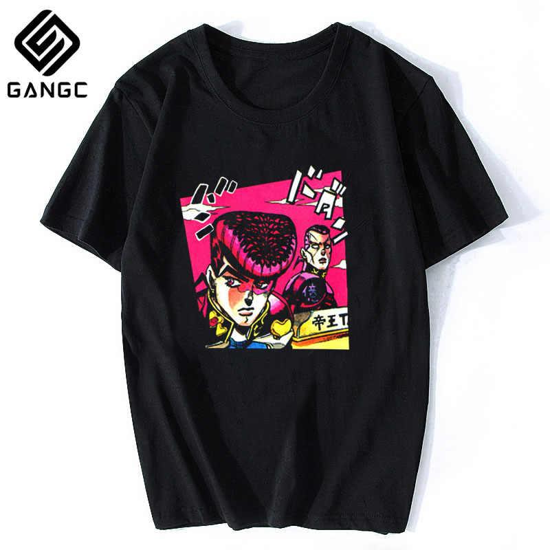 Harajuku Streetwear bawełniane koszulki Hombre mężczyźni Vaporwave japonia koszula z motywem Anime Jojos dziwaczna przygoda Vintage mężczyźni Manga T-shirt