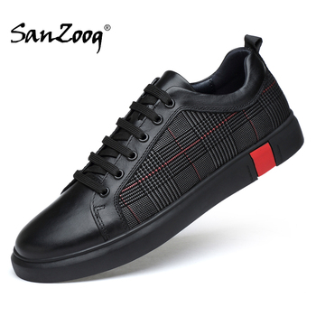 Spring Autumn Fashion Designer Black Men Genuine Leather Sneakers Casual Mens Shoes Hot Sale High Quality For Dropshipping недорого