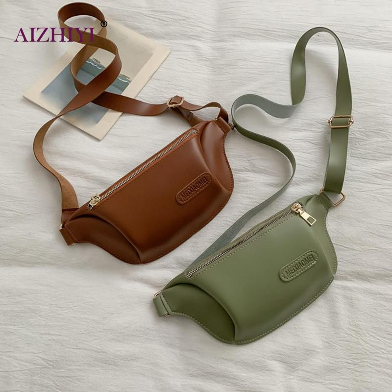 Casual Waist Bag Women PU Leather Adjustable Wide Strap Chest Bag Shoulder Messenger Bags Solid Color Waist Purse