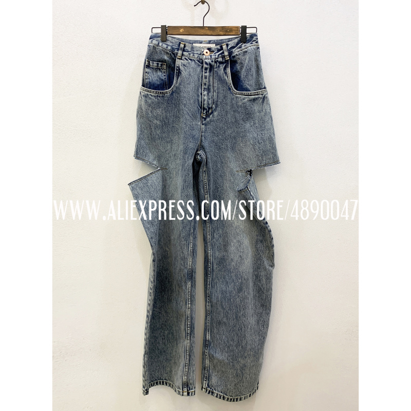 New Women's Ripped Jeans Casual Retro Female Tattered Pants Loose Ripped High Waist Straight Straight Wide Leg Distressed Jeans
