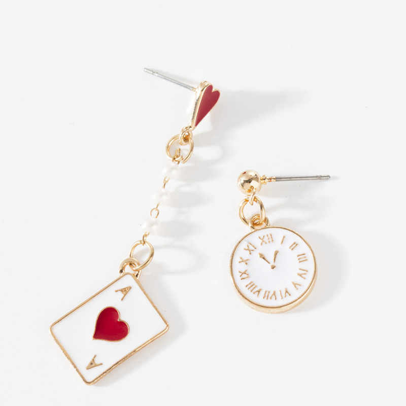 Korean Girl Alice Dream Clock Poker Asymmetric Stud Earrin серьги женские boucle d'oreille femme 2019	pendientes mujer moda 2019