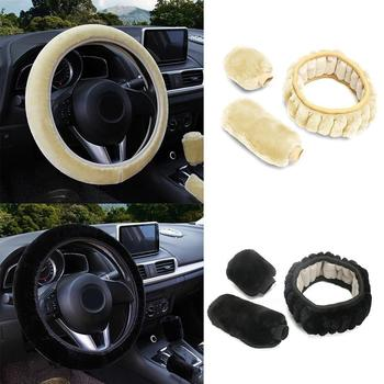 Universal Steering-wheel Plush Car Steering Wheel Covers Car Hand Interior Gear Set fur Brake Winter Cover Accessories & Fa S6A2 image