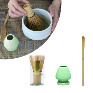 3Pcs tea set Traditional Matcha Natural Bamboo Matcha Whisk Scoop Ceremic Matcha Bowl Whisk Holder Japanese Style tea sets