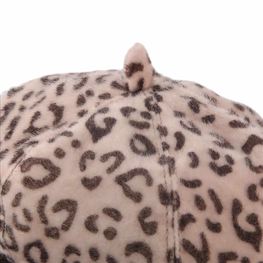 패션 우아한 레이디 여성 베레모 비니 레오파드 패턴 양모 펠트 여자 베레모 모자 따뜻한 겨울 부드러운 솔리드 컬러 베레모 모자 유지