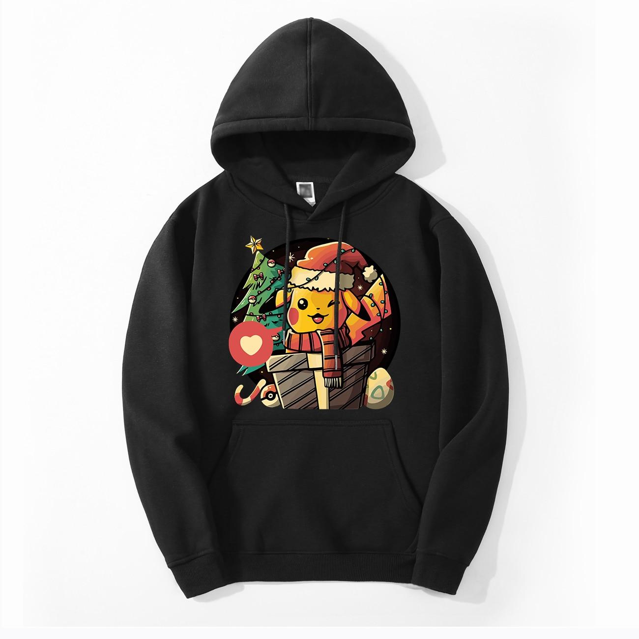 Pokemon Pikachu Men's Hoodies Spring Autumn Merry Christmas Hoodies Sweatshirts Men Fleece Tops Pokemon Cute Hoodies Sweatshirt