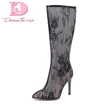 Doratasia 2020 big size 48 top quality sexy women shoes woman elegant thin high heels summer lace mid calf boots female(China)