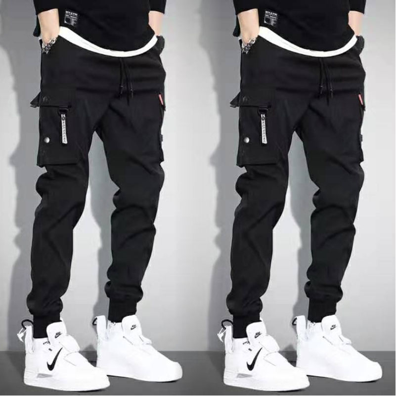 5XL Men Vintage Cargo Pants 2019 Male Hip Hop Khaki Black Pockets Joggers Pants Man Korean Fashion Sweatpants Autumn Overalls