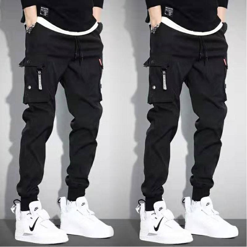 5XL Men Vintage Cargo Pants 2019 Male Hip Hop Khaki Black Pockets Joggers Pants Man Korean Fashion Sweatpants Autumn Overalls