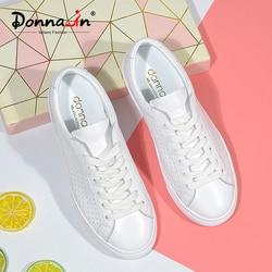 Donna-in/дышащие белые женские кроссовки из натуральной кожи; сезон весна-лето; коллекция 2020 года; женская обувь на плоской подошве для отдыха; у...