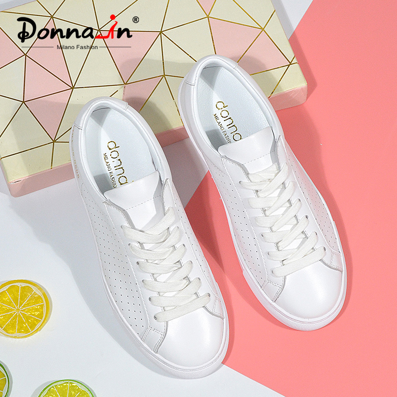 Donna-in Breathable Genuine Leather White Sneakers Women Hollow Spring Summer 2020 Leisure Flat Women Shoes Low Heel Comfortable