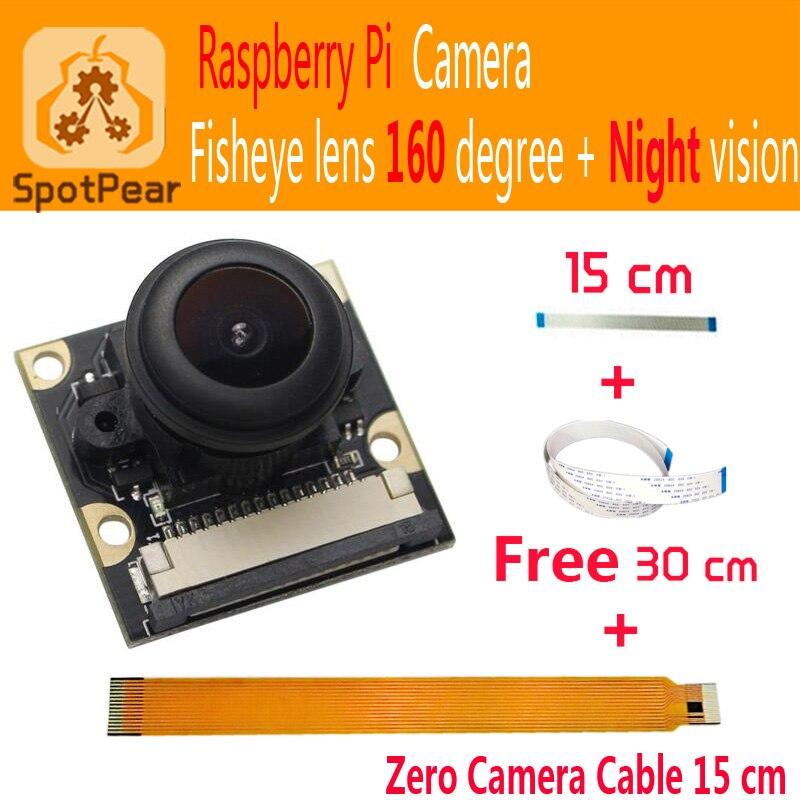 Raspberry Pi Модуль камеры 5 МП, широкоугольный Рыбий глаз 160 + линзы ночного видения 1080p для Raspberry pi zero 3B + 4B pi0 W