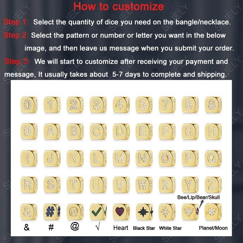 Image 3 - Настраиваемый браслет на заказ модный уникальный желтый позолоченный циркониевый начальный буквенный символ игральные кости Открытый браслет для женщин-in Браслеты from Украшения и аксессуары