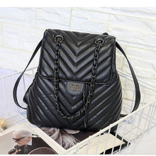 Quilted Soft Pu Leather Backpack Female Waterproof Vintage Back Pack
