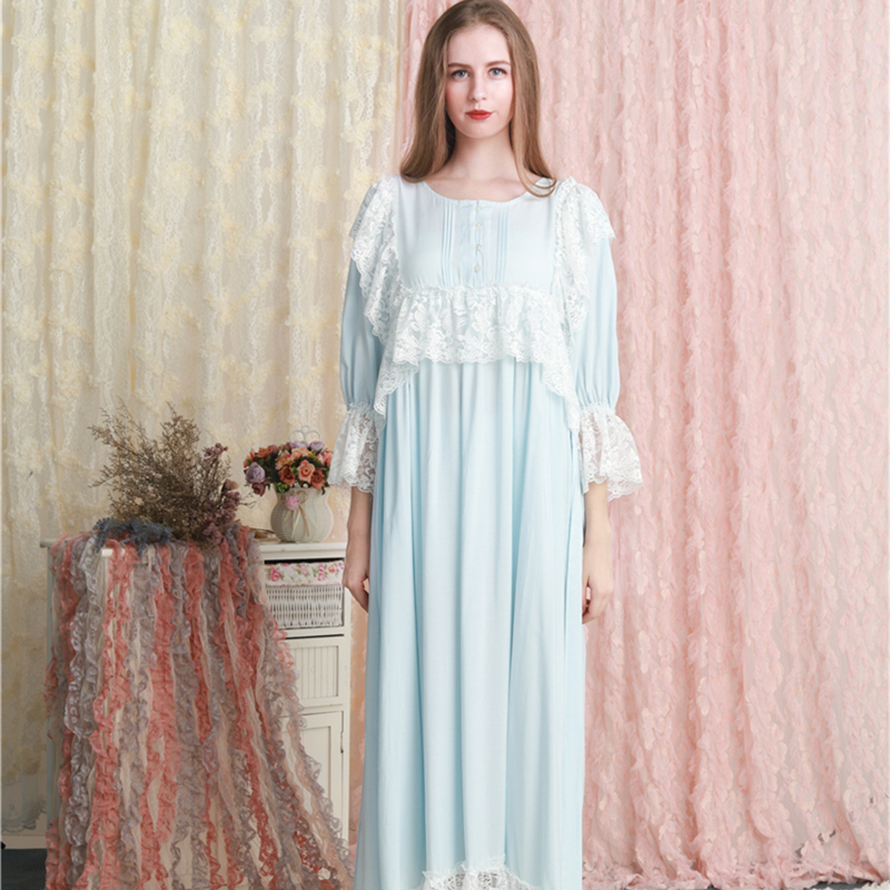 Nightgown   Lace Lace Cotton Sleepwear Dress Princess Woman   Nightgowns     Sleepshirts   Ladies Comfortable Sleep Lounge Long Nightdress