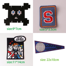 1PCS Black White English Alphabet Rectangle Embroidery Patches for Clothing Stripes Written Words Sticker Clothes Letters Badges