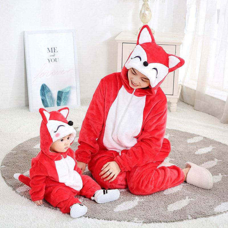 SAILEROAD Family Pajamas Matching Outfits For Mom And Baby Cartoon Fox Flannel Kigurumi Kids Christmas Pajamas For Families Sets
