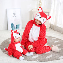 SAILEROAD Family Pajamas Matching Outfits For Mom and Baby Cartoon Fox Flannel Kigurumi Kids Christmas for Families Sets