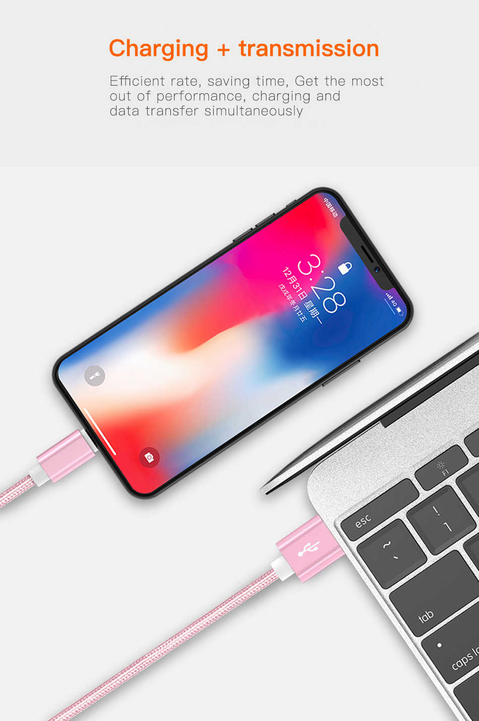 2.4A Cavo USB per iphone 7 Xs MAX 6 plus 7 6s X 5 se ipad 2 mini USB di Ricarica Veloce di Dati cavo del cavo 8 Spille apple iphone cavi