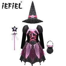 Disfraz de bruja de Halloween para niña, disfraz de Cosplay de Carnaval con estampado de estrellas plateadas brillantes, sombrero puntiagudo, varita, ropa de vestir