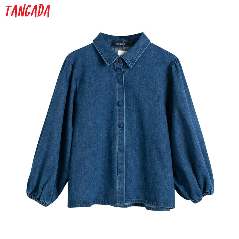 Tangada Women Retro Oversized Thick Denim Blouse Long Sleeve Chic Female Casual Loose Shirt Blusas Femininas 4T16