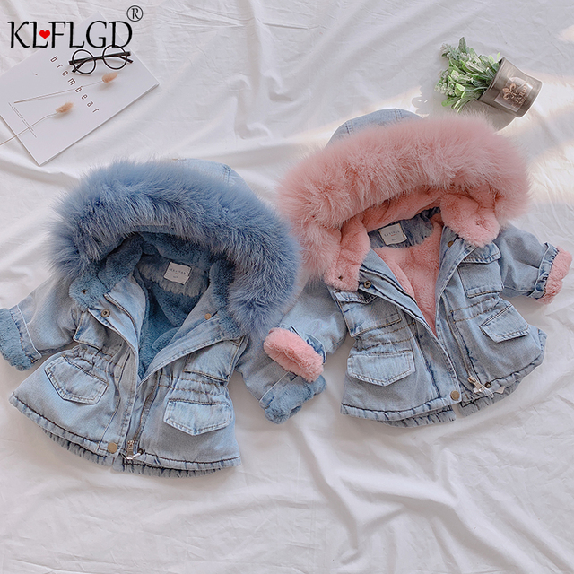 Girl's Eco Fur Hood Denim Coat 1