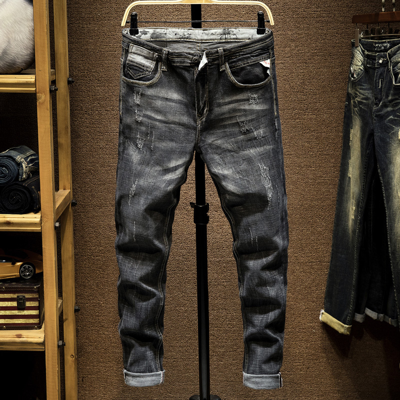 Italian Style Fashion Men Jeans Slim Fit Retro Black Gray Vintage Designer Jeans Men Streetwear Classical Ripped Jeans Homme