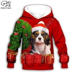 Crianças 3D Santa Bonito Cães imprimir feliz natal hoodies da criança do bebê da menina do menino outono Moletom com zíper jaqueta Dogt camisa Pant curto