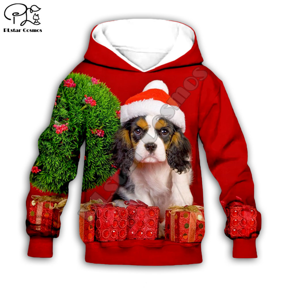 Kids 3D Cute Santa Dogs Print Merry Christmas Hoodies Child Baby Boy Girl Autumn Sweatshirt Zipper Jacket Dogt Shirt Pant Short