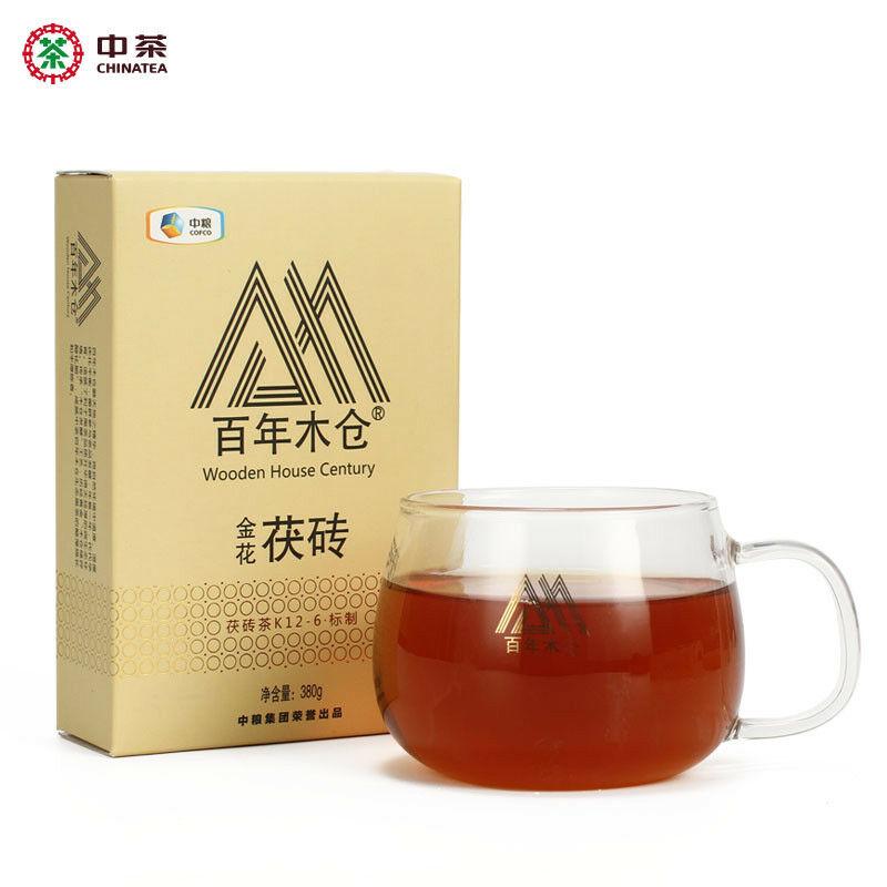 Golden Flower Fu Brick Tea Dark Tea Hunan Anhua Jinhua Fu Zhuan Tea 380g K12-6