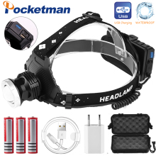 60000LM USB Rechargeable XHP50 headlamp Headlight high powerful xhp70 head lamp torch ZOOM Head light Use 3*18650 batteries выпуск 97