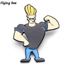 Flyingbee Johnny Bravo Cartoon Brooch and Pin jacket Enamel Pins Badges Lapel Brooches Badge for Friends Women Men X0442