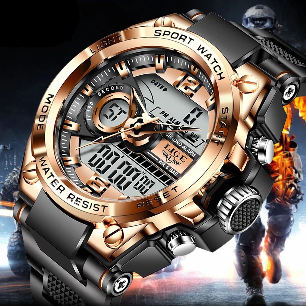 LIGE Sport Military Wrist Watch Men Watches Brand Male Watch For Men Clock Dual Display Wristwatch Army Outdoor Waterproof Watch