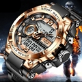 Часы наручные LIGE мужские спортивные, брендовые водонепроницаемые армейские, в стиле милитари, с двойным дисплеем