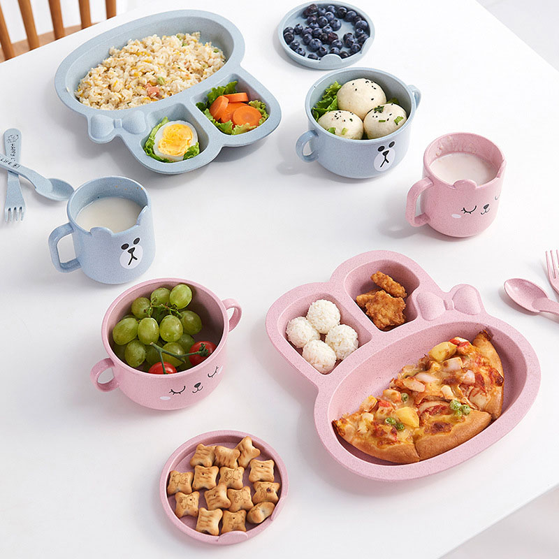 3Pcs/Set Baby Bowl Spoon Fork Feeding Food Tableware Cartoon Rabbit Kids Dishes Eating Dinnerware Anti-hot Training Dinner Plate