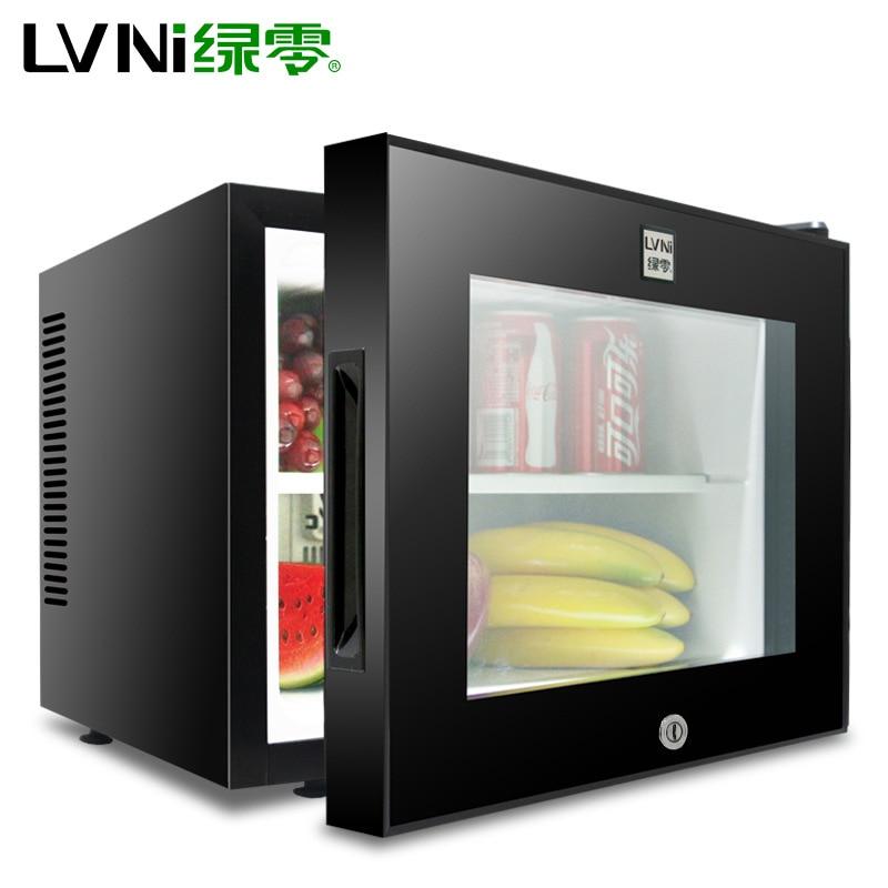220V 20L Hotel Room Small Refrigerator Mini Transparent Freestanding Display Freezer Mute Mini Fridge 8-15 Celsius