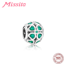 MISSITA 925 Sterling Silver Clover Love Crystal Beads fit Pandora Bracelet Green CZ DIY Jewelry Women Accessories