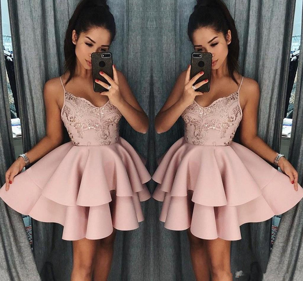 Dusty Rose Short Homecoming Dresses 2020 New Fall Spaghetti Straps A Line Layers Cocktail Dress Lace Sequins Mini Prom Gowns