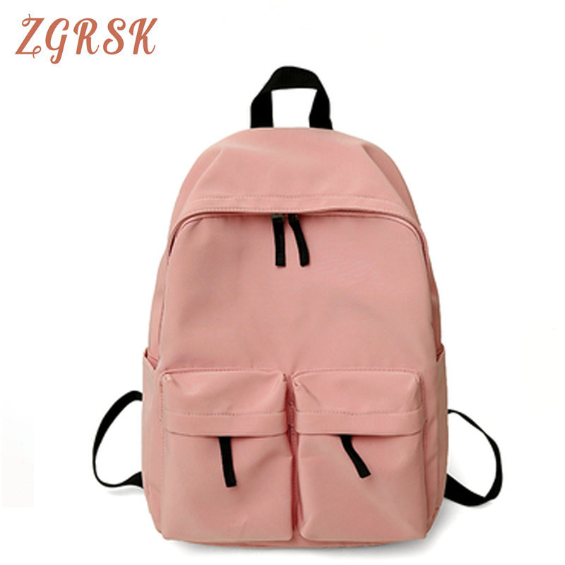 Women Waterproof Nylon Backpack Bagpack Female Fashion Double-pocket Schoolbag For Teenagers Girl Woman