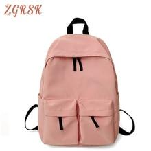 Women Waterproof Nylon Backpack Bagpack Female Fashion Double-pocket Schoolbag For Teenagers Girl Woman