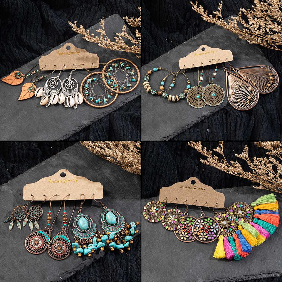 Vintage große Blume Blatt Ohrring Set weibliche Anweisung Schmuck ethnischen Böhmen lange Bronze Übergabe baumelnde Ohrringe für Frauen