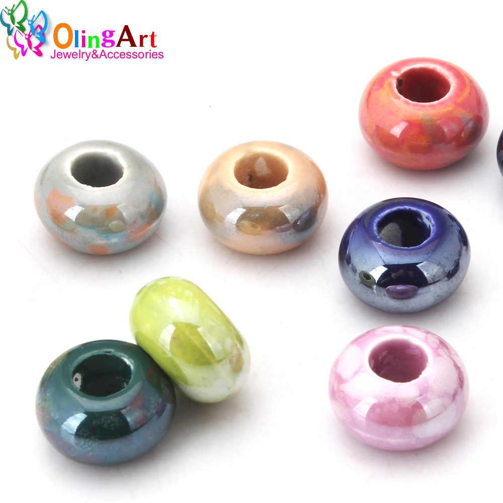 OlingArt 14x9mm 12 Uds. Mezcla de Color gran agujero galvanoplastia cerámica abalorios para brazalete europeo DIY collares fabricación de joyas