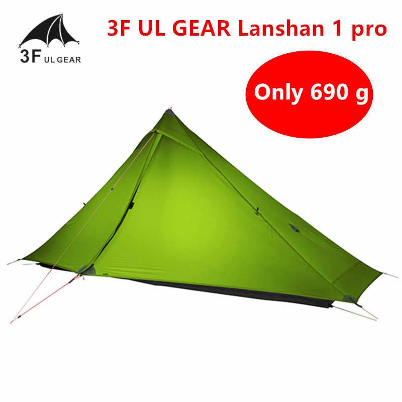3F UL dişli Lanshan 1 pro çadır açık 1 kişi Ultralight kamp çadırı 3 sezon profesyonel 20D Silnylon Rodless çadır