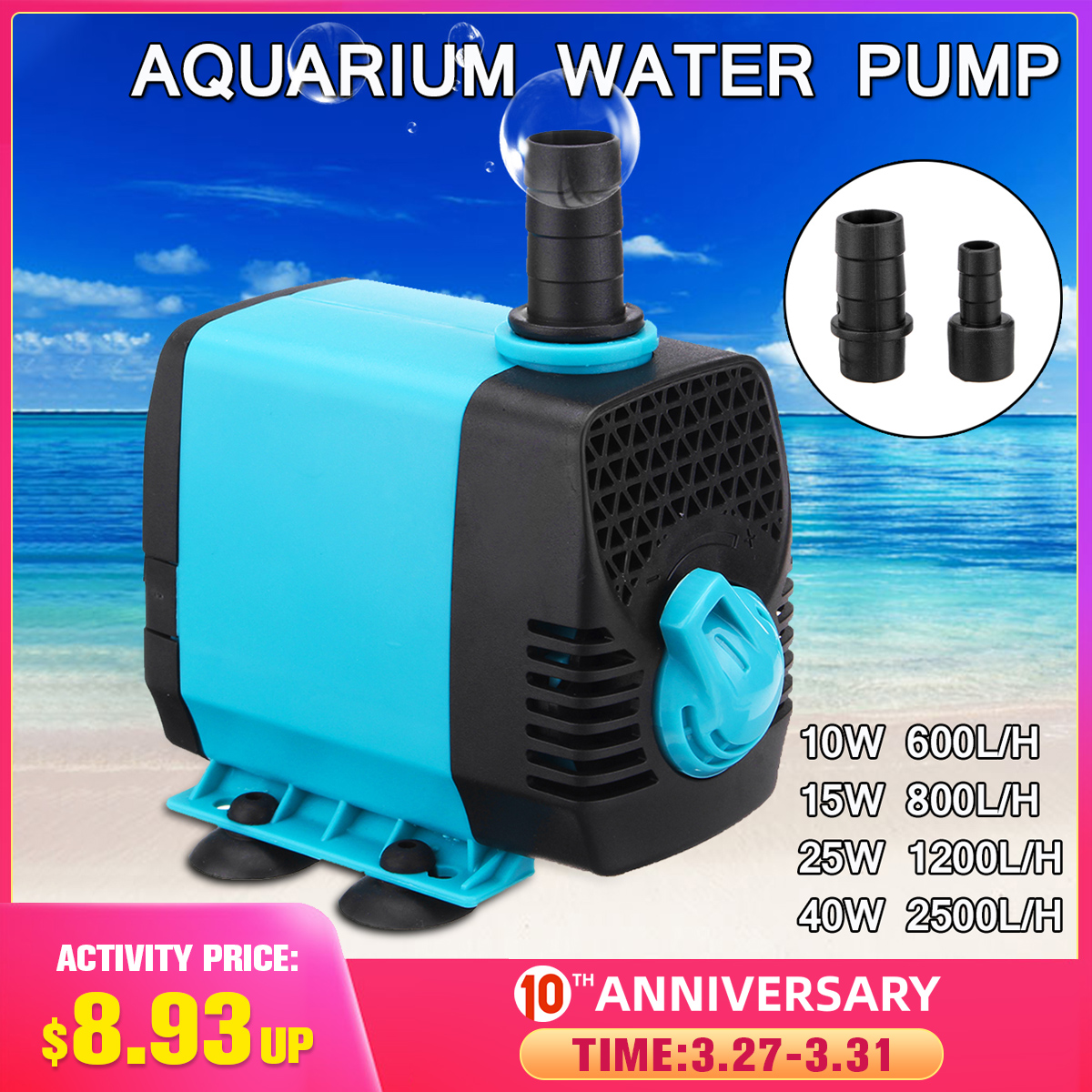 10/15/25/40W 220V Multifunctional Aquarium Water Pumps Tank Pond Pool Fountains Pump Waterproof Submersible Fish Pond Water Pump