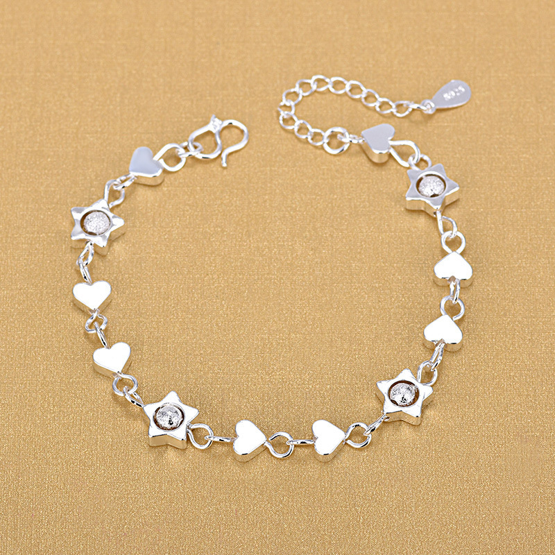925 Sterling Silver Creative New Accessories Love Stars Mix And Match Bracelet Fashion Jewelry For Women