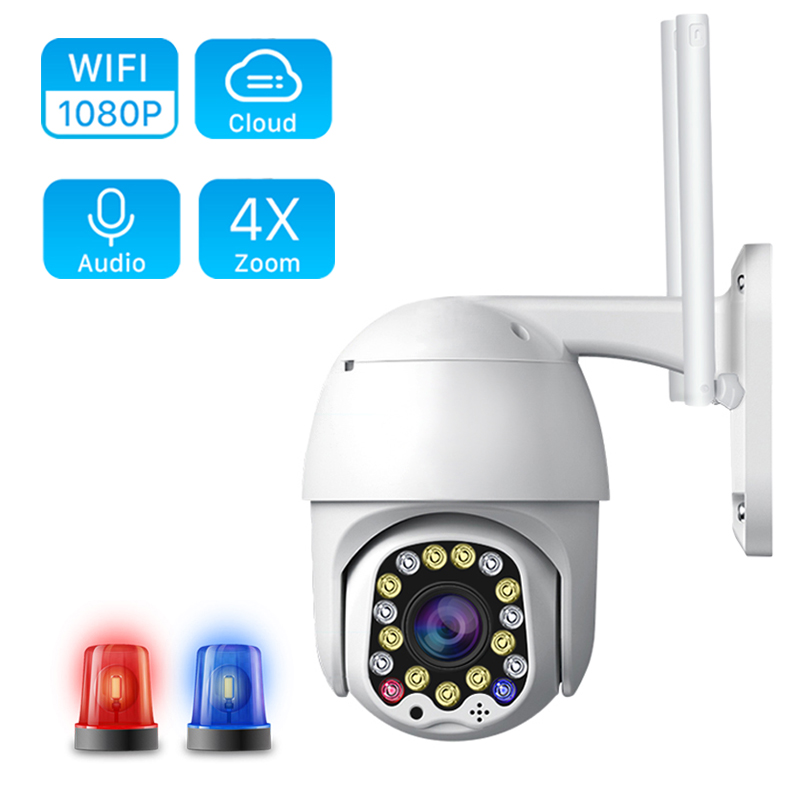 1080P 4X Digital Zoom IP Camera  Speed Dome Cloud Wifi PTZ Camera Outdoor 2MP Auto Tracking With Siren Light Home Security