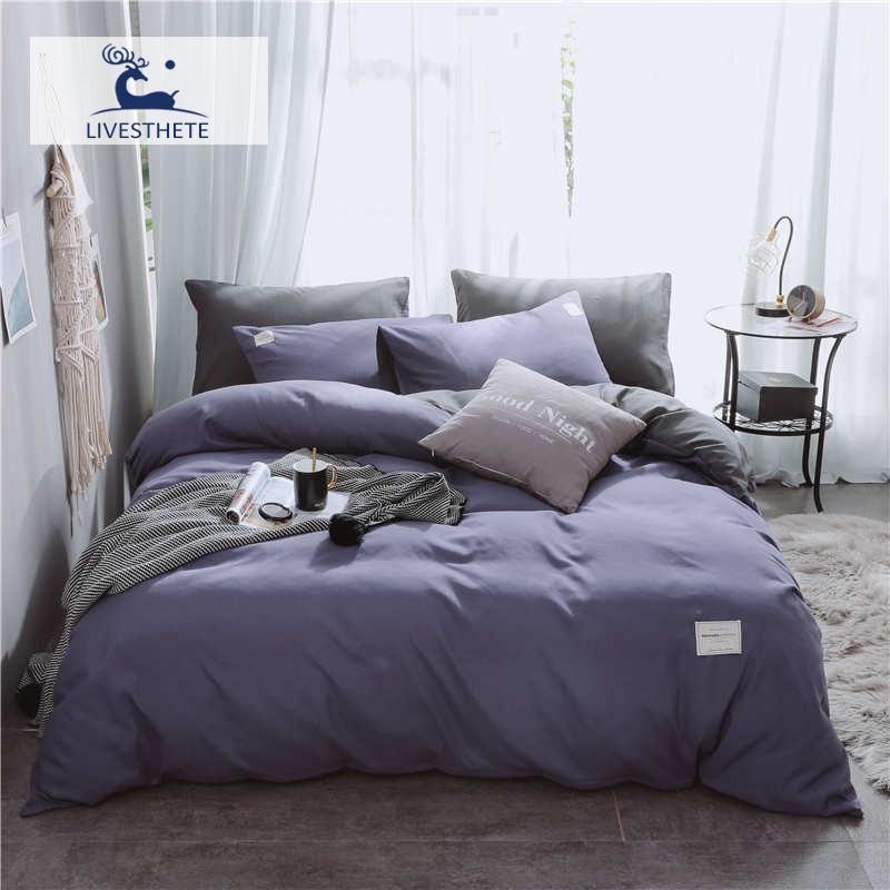Liv-Esthete 2019 New Luxury Blue Purple Bedding Set Soft Printed High Quality Duvet Cover Flat Sheet Double Queen King Bed Linen